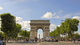 PARIS, FRANCE. France - famous Triumphal Arch located at the end of Champs-Elysees street. UNESCO World Heritage Site. PARIS, FRANCE - 224536115