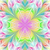 Flower pattern in fractal design. Artwork for creative design, art and entertainment. - 224536978