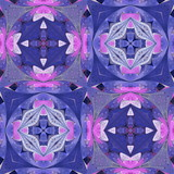 Multicolored floral pattern in stained-glass window style. You can use it for invitations, notebook covers, phone cases, postcards, cards, wallpapers. Artwork for creative design. - 224540792