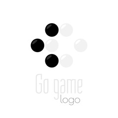 Go game logo. Baduk ko rule position. Black and white stones from weiqi board game isolated on white background. Chinese strategy. Pure design.