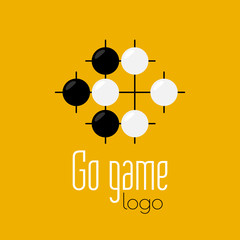 Go game logo. Baduk ko rule position. Black and white stones from weiqi board game. Chinese strategy. Pure vector flat design.