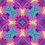Multicolored floral pattern in stained-glass window style. You can use it for invitations, notebook covers, phone cases, postcards, cards, wallpapers and so on. Artwork for creative design. - 224543568