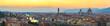 Quadro Florence Italy, sunset panorama city skyline with Ponte Vecchio bridge and Duomo