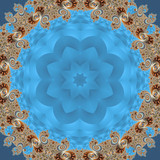 Fabulous fractal background with spiral and petals ornament. You can use it for invitations, notebook covers, phone case, postcards, cards, ceramics, carpets  - 224544350