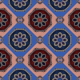 Two-tone seamless pattern with spiral and petals ornament. You can use it for invitations, notebook covers, phone case, postcards, cards, ceramics, carpets and so on.  - 224544730