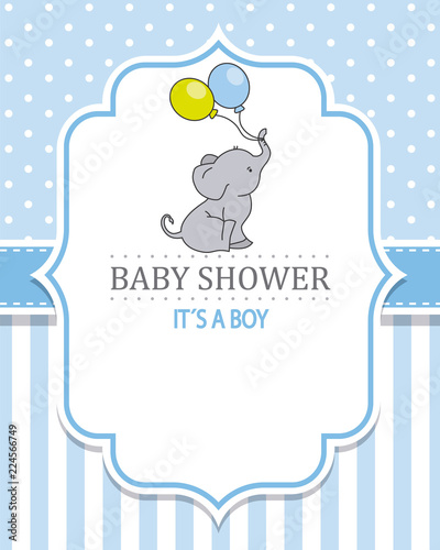 baby shower boy. Cute elephant with balloons. space for text - 224566749