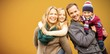Quadro Composite image of portrait of family smiling together