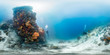 Leinwanddruck Bild - Diver off Bangka Island