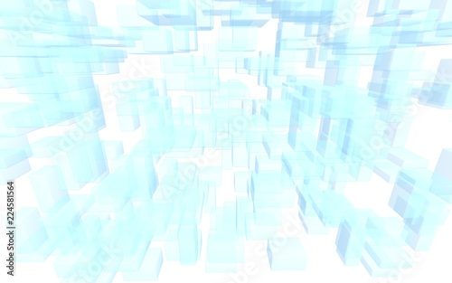 Blue and white abstract digital and technology background. The pattern with repeating rectangles. 3D illustration - 224581564