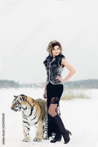 Fototapeta tiger and woman