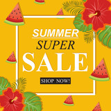 Summer Super Sale Banner with Fruit Floral Flower - 224595792