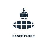 Dance floor icon. Black filled vector illustration. Dance floor symbol on white background. - 224599513