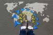 Quadro Grey fashion shoes on world map background