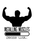 sport posen cool installing muscles please wait ladebalken installiere fitness training bodybuilder muskeln stark sexy wachsen bitte warten loading laden trainieren kraft logo design clipart