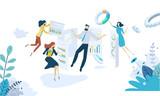 Vector illustration concept of data analysis. Creative flat design for web banner, marketing material, business presentation, online advertising. - 224612973