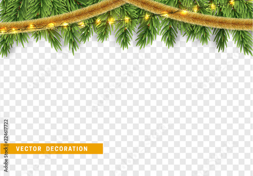 Christmas border with fir branches string lights garland and gold