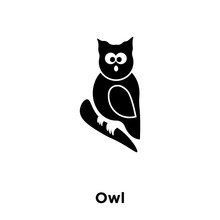 Owl Icon     Logo Concept Of Owl Sign On Transparent  Black Filled Symbol Sticker