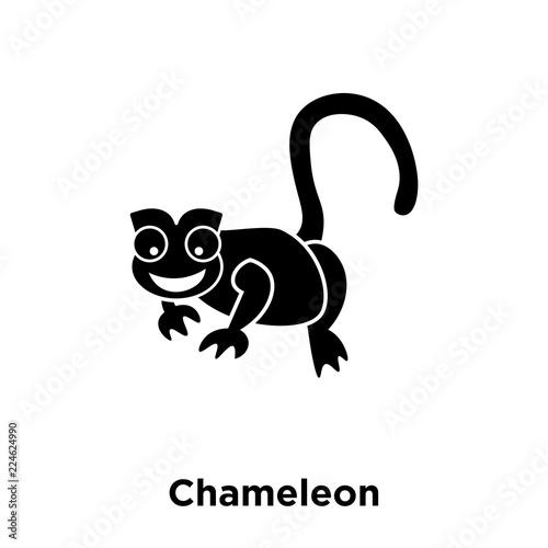 Fototapeta Chameleon icon vector isolated on white background, logo concept of Chameleon sign on transparent background, black filled symbol