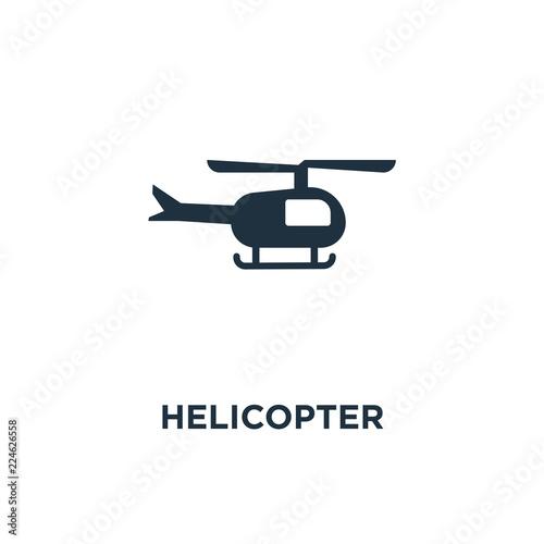 Fototapeta Helicopter icon. Black filled vector illustration. Helicopter symbol on white background.