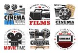 Cinema films, camera and movie vector icons - 224643397
