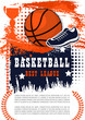 Basketball game poster with ball