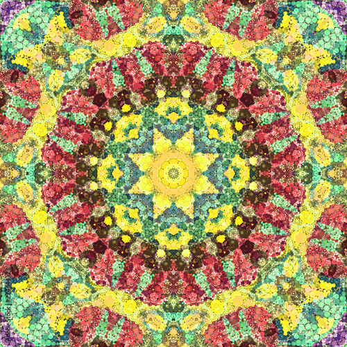 Seamless abstract pattern kaleidoscopic mosaic ornamental tile - 224644323