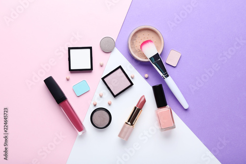 Makeup cosmetics on colorful background - 224645723