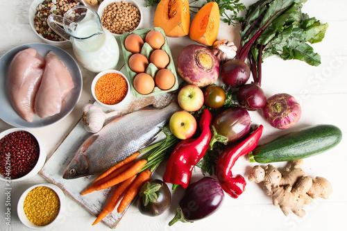Foto Murales Balanced diet food concept
