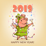 Cute pink pig in a green dress. Vector. Happy New Year.