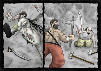 Fantasy comic monster scene