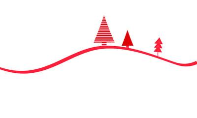 Weihnachtsbäume Welle Band Banner Wald Weihnachten Tannenbaum Rot Hintergrund Leer Freiraum