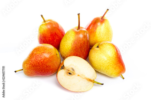 Leinwanddruck Bild ripe red yellow pear fruits isolated on white background