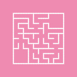 White square labyrinth with entrance and exit. An interesting game for children. A simple flat vector illustration isolated on a colored background. With a place for your drawings. - 224661118