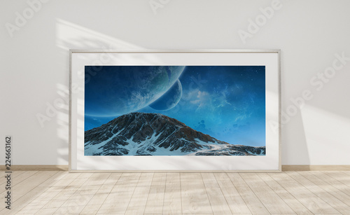 Large horizontal frame leaning on a white wall 3D rendering