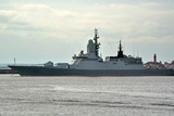 Russian modern military missile ship of Corvette class built on stealth technology on the berth in the sea Bay