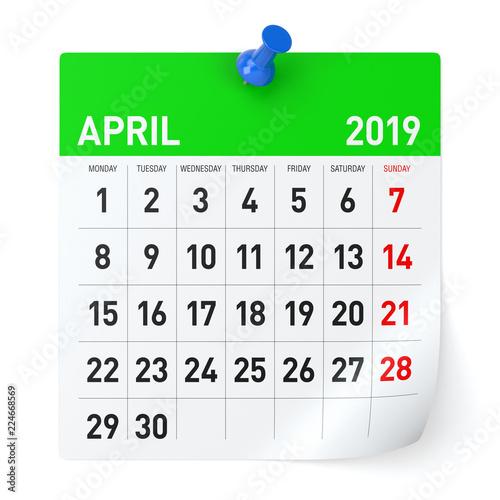2019 Ap Calendar April 2019   Calendar. | Buy Photos | AP Images | DetailView