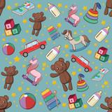 Bezszwowy wzór z dziecko zabawkami