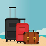 beach landscape with suitcases