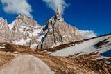 Beautiful sunny day in Italian Alps. Mountain landscape with road. Dolomites, Italian Alps