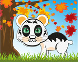 Animal panda cartoon on nature under tree