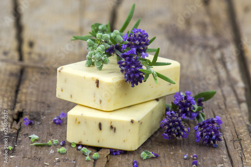 bars of natural soap and lavender flowers - 224690337