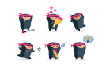 Flat vector set of cute ninja in different actions. Funny cartoon character. Emoji for social network, t-shirt print or postcard - 224692771