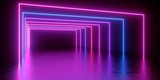 Fototapeta Fototapety do przedpokoju - 3d render, abstract minimal background, glowing lines tunnel, arch, corridor, pink blue neon lights, ultraviolet spectrum, virtual reality, laser show © wacomka