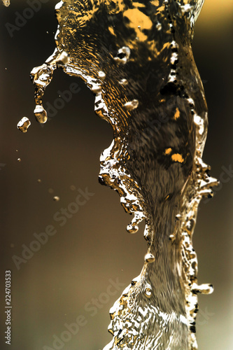 Water splashing in inversion as an abstract background