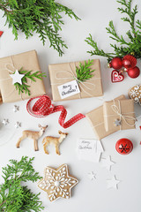 christmas gift wrapping tools and ornaments. flat lay