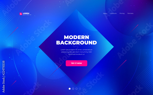 Liquid color background design. Fluid gradient shapes composition. Futuristic design landing page. Eps10 vector. - 224710338