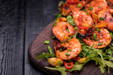 Fried Prawns with pepper, garlic and lemon. Mediterranean cuisine. Asian cuisine. - 224718102