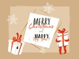 Hand drawn vector abstract Merry Christmas and Happy New Year time vintage cartoon illustration greeting card header template with little boy kid who holding big gift box isolated on white background - 224718716