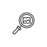 Image gallery search outline icon. linear style sign for mobile concept and web design. magnifying glass and picture simple line vector icon. Symbol, logo illustration. Pixel perfect vector graphics - 224725582