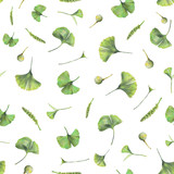 Seamless pattern with green leaves of ginkgo biloba. Hand drawn illustration with colored pencils. Botanical natural design for textiles, interior or some background. - 224731387